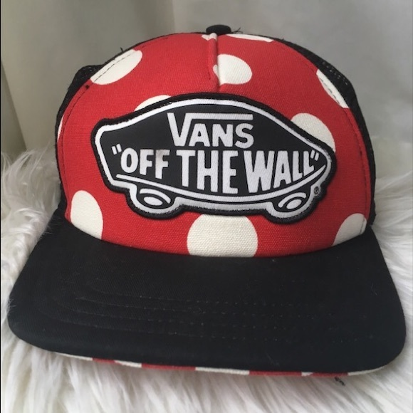 """58cfa37e Vans hat; """"off the wall"""" Polk-a-dot red and white"""